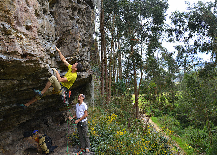 Parterns rock climbing in the Colombian Mountains