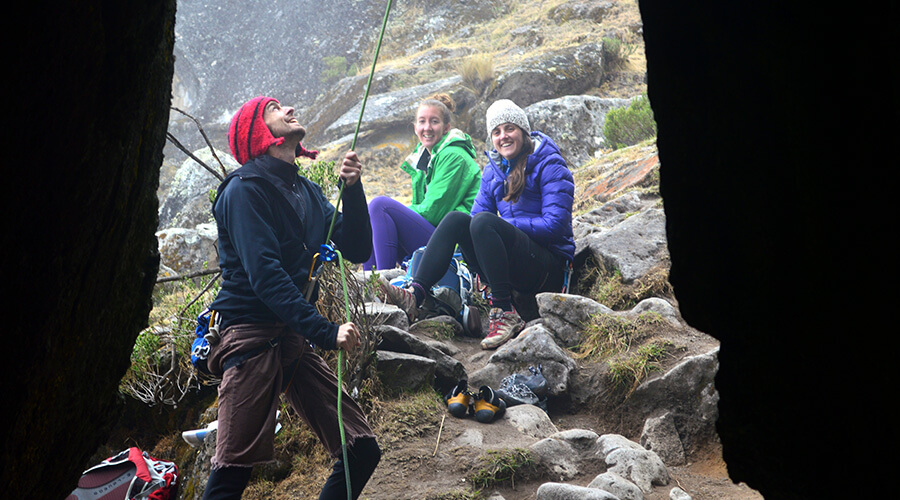Group of climbers getting their gear ready