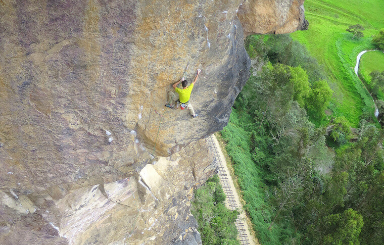 A man rock climbing in Colombia