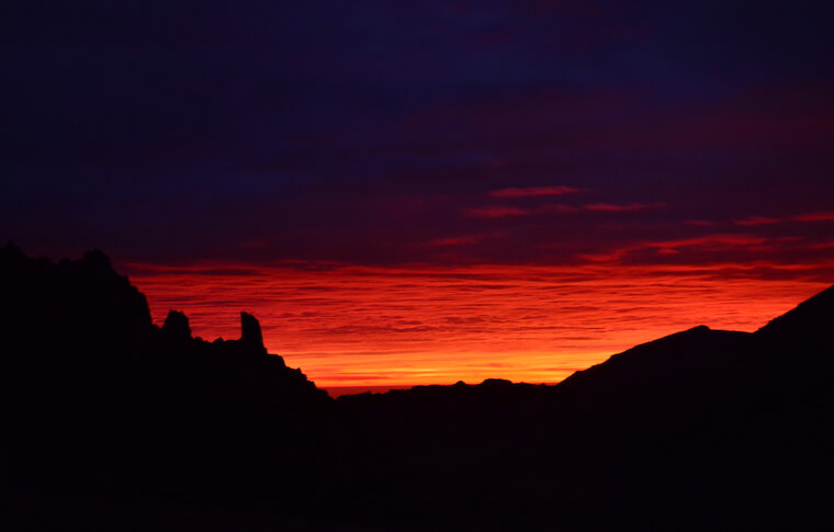 Bright red sunset in the mountains