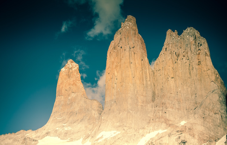 Torres del Paine up close with deep blue sky