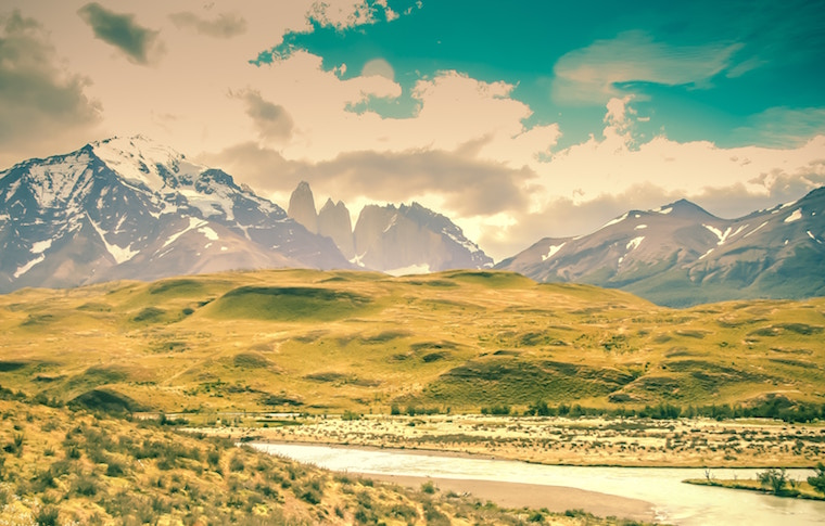 Torres del Paine national park with river and hills