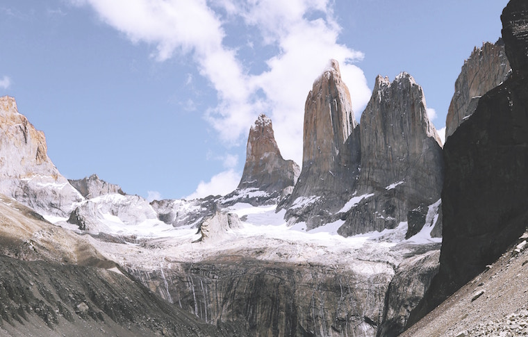 Torres del Paine with snow