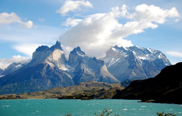 Torres del Paine national park with lake
